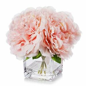 Enova Home Artificial Peony Flowers Arrangements in Cube Glass Vase with Faux...