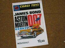 Affiche Publicitaire ASTON MARTIN James Bond CORGI Reproduction  fiche carton