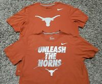 Lot of 2 Texas Longhorns NIKE Dri Fit T-shirt Men Size Large cotton & drifit
