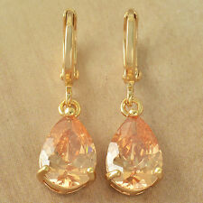 Vintage  yellow Gold Filled tear Drop Champagne CZ lucky womens Dangle Earrings