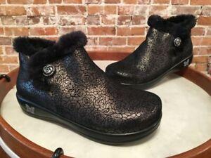 Alegria Meri Black Florette Water Resistant Leather Fur Ankle Boot 38 7.5-8 NEW