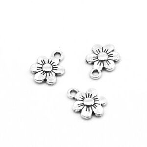 20 x Small Flower Charms Antique SILVER Tone 10x6mm Crafts Findings - Hole 1mm