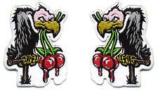 Vulture Buzzard cherry patch set pair badge hot rod rockabilly western shirt
