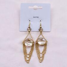 Hook Oval Stone Costume Earrings
