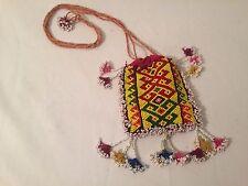 Vintage Small Heavy Glass Beaded Drawstring Medicine Bag Tribal handmade Purse