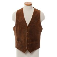 Scully Brown Western Suede Leather Vest Distress Finish Lined Men's 40 M
