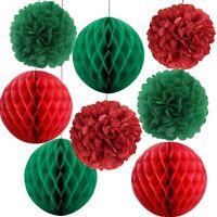 Christmas Paper Hanging Xmas Decoration Paper Pompoms And Honeycomb Balls 8 Pcs