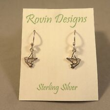 .925 Sterling Silver Tiny BIRD EARRINGS Dangle NEW Rovin Dove Swallow  925 RV08