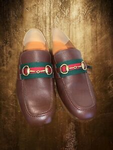 Gucci Mens Leather Horsebit Green Red Stripe Loafers Dress Shoes US 8.5