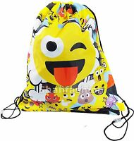 Boys Girls New Emoji Drawstring Trainer Gym Bag PE Bag Shoe Swim School Bag