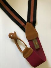 TRAFALGAR Suspenders Braces Black Copper Orange Metallic Grosgrain ENGLAND