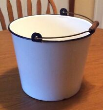 Vintage White Enamelware Bucket with Handle - 2+ Gallons  / Dark Navy Trim
