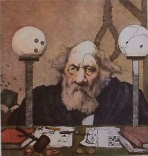 Art print Charles Bragg Plate Signed Color Lithograph HANGING JUDGE Lawyer Court