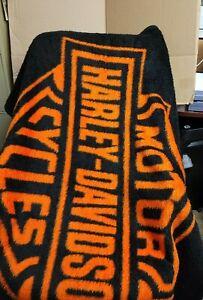"""HARLEY DAVIDSON Black Orange Throw Blanket 56""""×48"""" Motorcycles Bierderlack"""