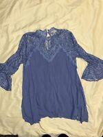 Umgee Boutique Women's Size L Large Blue Lace Cute Summer Tunic Top Blouse Boho