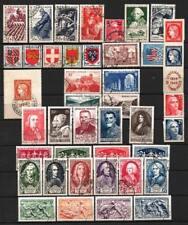 France année complète 1949 Yvert n° 823 à 862 oblitérés 1er choix