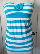 Hollister Babydoll Rosette Tube Top Turquoise/White Stripe XS S L New with Tags