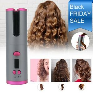 Portable Cordless Auto-rotating Hair Curler Hair Waver Curling Iron LCD Ceramic