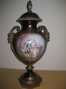 Genuine Sevres mark porcelain vase, with 2 bronze fauns, signed Poitevin