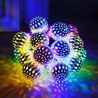 20 LED Solar String Lights Moroccan Ball Star Garden Fairy Lamp