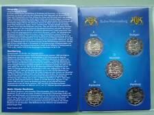 Deutschland 5 x 2 Euro Gedenkmünzen 2013 Baden-Württemberg A,D,F,G,J Münzkarte