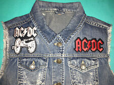 AC:DC Girls Denim Cut-Off Waistcoat Vest Gilet Jacket Those About To Rock Salute
