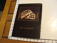 art catalog: BEN JAKOBER: ARQUEOLOGIA DEL PRESENTE 1986