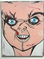 Chucky Child's Play hand painted doll portrait horror icon movie signed artwork