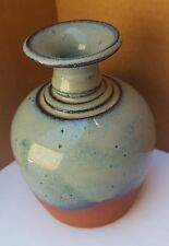 Ceramic Vase Pottery Signed Miller Hand Throw Glaze Earth ware Sequoia Blue