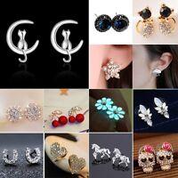 New Mini Flower Cat Crystal Rhinestone Ear Stud Earrings Wedding Women Jewellery