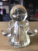 Vintage Solid Glass Caroling Angel Girl Candle Holder Christmas Decoration Decor