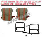 Royal Enfield Classic 350 500 Military Pannier Set +Green Bags & Fitting