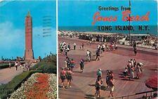 Jones Beach Long Island NY New York water tower bathing beach boardwalk Postcard