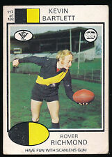 1975 Scanlens No. 112 Kevin Bartlett Richmond Tigers Card Brown Back ++++