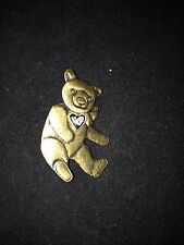 """COPPER COLORED BEAR WITH HEART PIN BROOCH 2"""" X 1.25"""""""