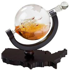 Whiskey Decanter En Usa Map Tray - Etched Globe Liquor Decanter - Beverage Serve