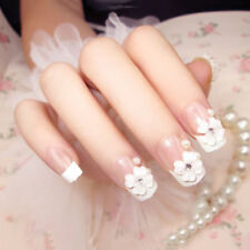 24pcs Nails 3D Flower Pattern French False Manicure Tip Full Nail Bride Lady CMX