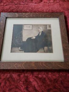 1900s VTG Whistler's Mother Framed Print Old Wood Frame under glass Nebraska