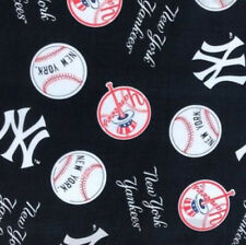 NEW YORK YANKEES FABRIC 100% cotton 1 full YARD MLB sports NY baseball navy logo