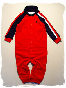 RALPH LAUREN*LUXUS Strampler*Schlafanzug*Overall*Junge*OHNE Füße*rot*62-68*NEU