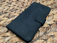 Genuine Real Leather Luxury Black Suede Pouch Wallet Case for Iphone 6 6S Plus