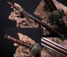 "High Quality Chinese Sword ""XuanYuan Jian""(劍) Red Pattern Steel Sharp Blade #103"