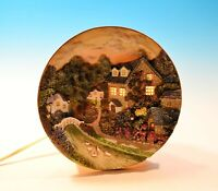 """Inspired by Thomas Kinkade Lighted Cottage Plate Night Light 6 3/4"""" 1998 vintage"""