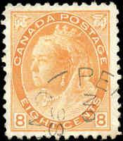 Used Canada 1899 8c F-VF Scott #82 Queen Victoria Numeral Issue Stamp