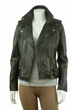 Ladies Black Brass Trench Leather Fitted Long Biker Fashion Button Jacket