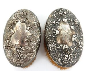 .LATE 1800s USA SUPERB MATCHING PAIR REPOUSSE STERLING SILVER CLOTHES BRUSHES.