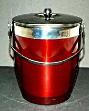 MCM Vintage Ice Bucket Red Chrome Aluminum Acrylic Double Walled See Through