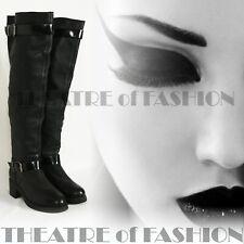 Boots Leather Topshop Vintage Shoes Black Uk 5 Eu 38 Us 7 Over Knee Biker Vamp