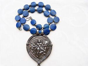 Huge Antique India Shiva Amulet, Bheru Bhairava, Rajasthan India, Lapis Necklace