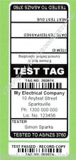 1000 CUSTOM BLACK Printed Electrical Adhesive Test Tag Labels